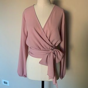 NWT . Fashion Nova pink wrap around top